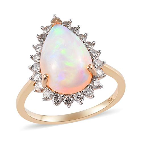 TJC Opal Halo Ring for Womens in 9ct Yellow Gold Anniversary/Wedding/Proposal Gemstone Jewellery Size O with White Diamond October Birthstone, TCW 3.5ct