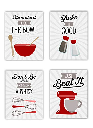 Red Retro Vintage Kitchen Wall Art Prints - Set of 4-8x10 UNFRAMED Gray, Red & White Kitchen Utensil Prints Perfect for Rustic, Modern Farmhouse, Country Decor.