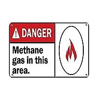 このエリアの危険なメタンガス。 危険サインの危険 金属板ブリキ看板警告サイン注意サイン表示パネル情報サイン金属安全サイン