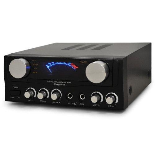 Skytronic 103.202 - Amplificador de Sonido HiFi con 2 entradas de micrófono (400W, 2 x 50 W RMS, 230V, 50Hz, 4 ohmios, 80 dB, estéreo RCA) - Negro