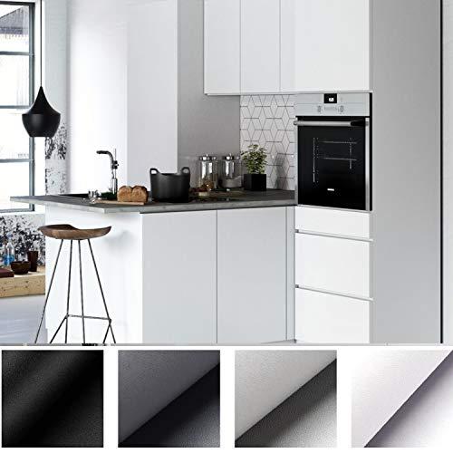 KINLO - Pellicola decorativa autoadesiva, in PVC, 5 x 0,61 m, colore bianco, spessa, impermeabile, per abbellire i mobili senza lucidarli, pvc, Bianco, 5M