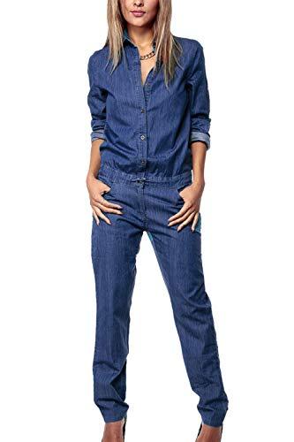 Fasumava Donne Jeans Primavera Autunno Una Manica Lunga Tuta Drawcord Romper Blu L