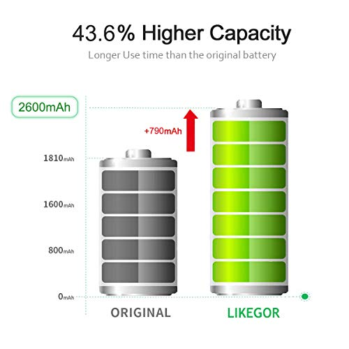LIKEGOR New Battery for iPhone 6, 2600mAh Replacement Battery Model A1586, A1589, A1549 with Complete Repair Tool Kits and Instruction-12 Months Warranty (for IP6 Only)