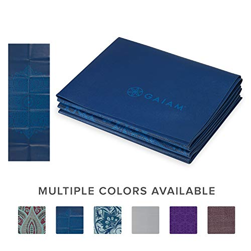 Gaiam Yoga Mat Folding Travel Fitness & Exercise Mat | Foldable Yoga Mat for All Types of Yoga, Pilates & Floor Workouts, Blue Sundial, 2mm