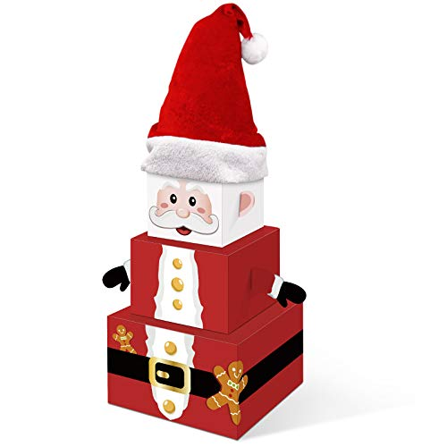 Christmas Santa Gift Boxes Xmas Holiday Party Favor Decorations Tower Nesting Present Boxes for Christmas Tree Home Office Table Decorations Winter Festive Birthday Supplies