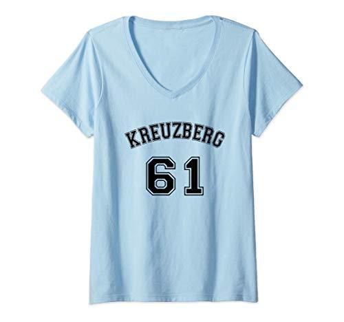Damen Kreuzberg 61 Berliner Bezirk Nostalgie Design Schwarzer Text T-Shirt mit V-Ausschnitt