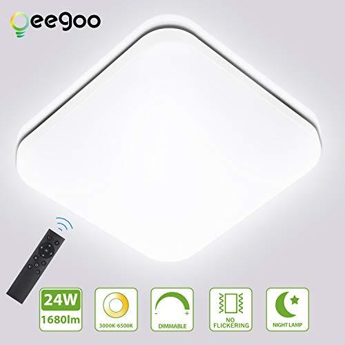 Oeegoo Plafón LED regulable 24W, 1680Lm sin parpadeo Lámpara de techo LED con control remoto, para dormitorio, habitación infantil, sala de estar, pasillo, hotel 3000K -6500K