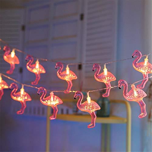 GLITZFAS Dekorative Flamingo Lichterkette, batteriebetrieben, 1.5 m, 10 LEDs, für Innen und Außen, DIY, Zuhause, Neujahr, Party, Urlaub, Hochzeit (1.5M 10 LEDs)