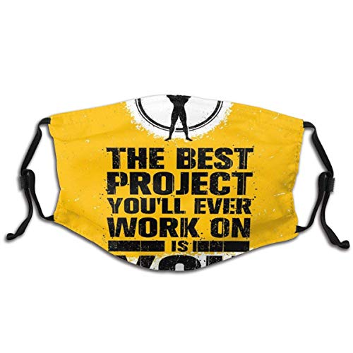 The Best Project Is You Phrase With Weightlifter Fit Body Concept Cloth Face Mask Comfortable Washable With Filter Anti Dust Reusable Mouth Protection Balaclavas Outdoor For Men & Women