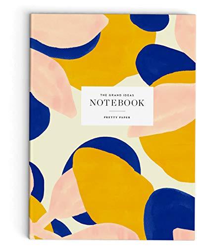 Skandinavisches Notizbuch A5 blanko Softcover 148 x 210 mm, 64 Seiten: Gelb, Koralle & Blau