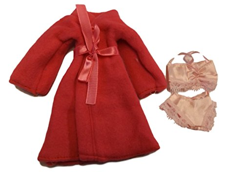 Vestaglia accappatoio/vestaglia da notte e scarpe,per bambola Barbie Sindy, colore: rosa