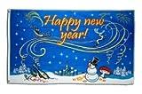Flaggenfritze® Flagge Happy New Year mit Schneemann 90x150cm