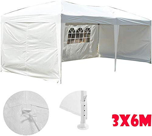 HYLH Gazebo avec Murs latéraux 3M X 6M, Blanc, Tente extérieure Robuste et à l'épreuve de la verrière résistante à l'abri de l'épreuve extérieure pour Le Mariage extérieur de Partie