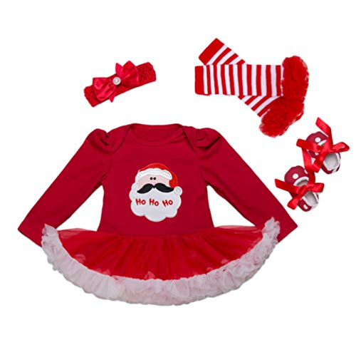 YuanDian Baby Mädchen 4tlg Kleid Weihnachten Bekleidung Neugeborenes Outfit Kleinkind Weihnachtskostüm Strampler Body Kleid + Stirnband + Beinwärmer + Schuhe Babykleidung 4# Weihnachtsmann 6-12 Monate