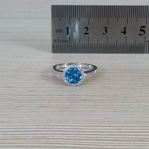 Diamonds in the Sand 14 Karat Weißgold Halo 1,50 Karat blauer Topasring mit Diamanten