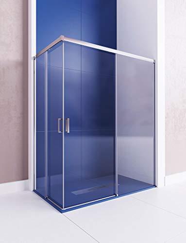 Modelo ASTRO - Mampara de ducha angular de 2 hojas fijas y 2 puertas correderas- Cristal 6 mm con ANTICAL INCLIDO.