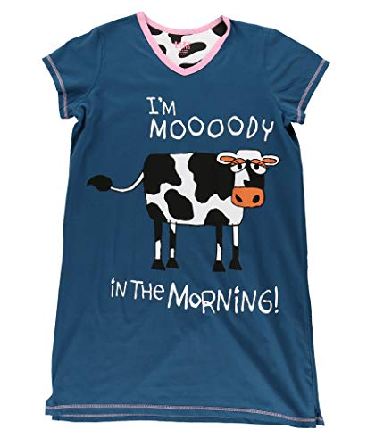 Lazy One V-Neck Nightshirts for Women, Animal Designs, Cow, Farm (Moody in The Morning, L/XL)