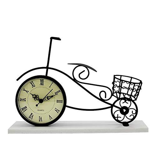 Dosige Tischuhr Fahrrad Holzsockel Standuhr Fahrraduhr Kaminuhr Shabby Deko, Tischuhr Fahrrad im Vintage Stil, Tischuhr Fahrrad aus Metall mit Quarzlaufwerk