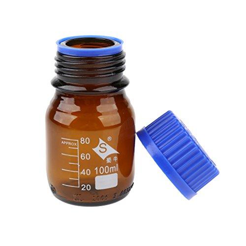 LOVIVER 100ml-1000ml Reagenzflasche Glas Laborgewindeflasche Borosilikatglas Laborflasche, Braun - 100ml