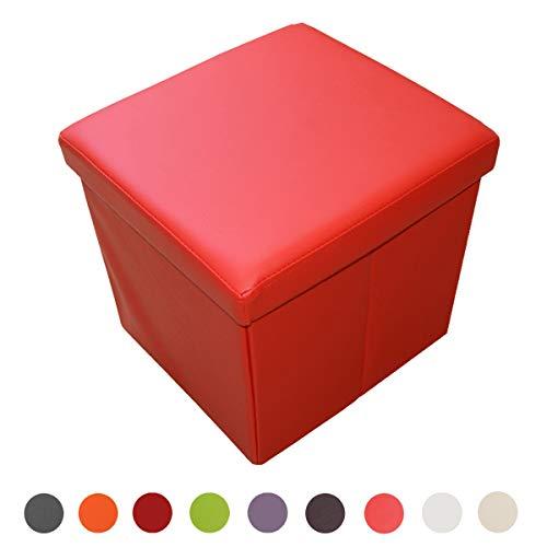 Style home Sitzbank Sitzhocker Aufbewahrungsbox mit Stauraum Faltbar belastbar bis 300 kg, Kunstleder, 38 x 38 x 38 cm (Signalrot)