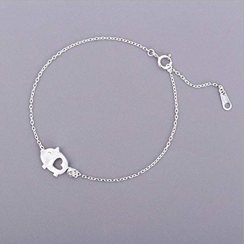 QWKLNRA Women'S Bracelet Exquisite Handmade 925 Sterling Silver Jewelry Adjustable Buckle Chain Bracelets Drawing Small Cute Pig Lovely Female Hollow Bracelets