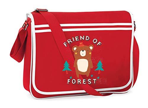 Druckerlebnis24 Schultertasche - Frien of Forest Bär - Umhängetasche, geeignet für Schule Uni Laptop Arbeit