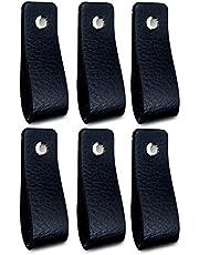 Brute Strength - Leren Handgrepen - Zwart - 6 stuks - 16,5 x 2,5 cm - incl. 3 kleuren schroeven per leren handvat voor keukenkastjes - badkamer – kasten