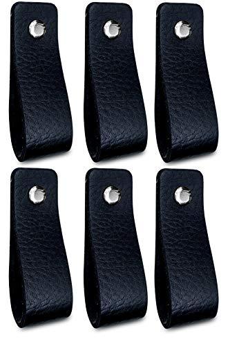 Brute Strength - Tirador de cuero - Negro - 6 piezas - 16,5 x 2,5 cm - incluye tres colores de tornillos por manija de cuero para los gabinetes de cocina - baño - gabinetes