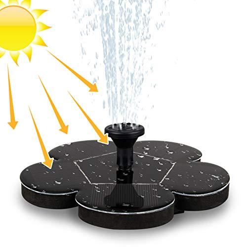 Migimi Solar Springbrunnen, Solar Teichpumpe Outdoor Schwimmender Fontäne Pumpe mit 1.4W Monokristalline Solar Panel Garten Solarpumpe für Gartenteich, Vogel-Bad, Fisch-Behälter, Kleiner Teich