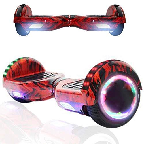 Magic Vida Patinete Eléctrico Overboard 6.5 Pulgadas,Motor de 700W,Altavoz de música Bluetooth,Auto-Equilibrio,Luz LED,Scooter Electrico para Niños y Adultos(Llama roja)