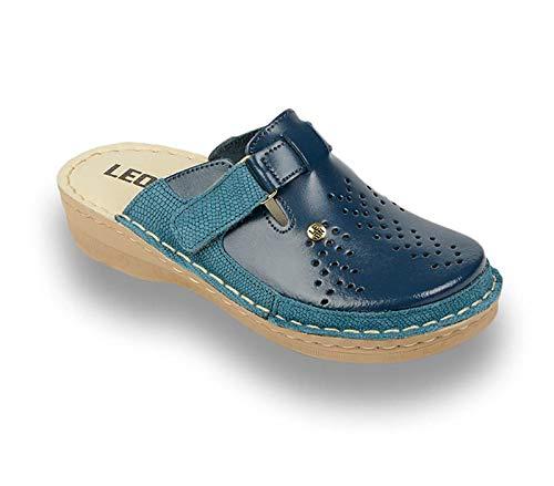 LEON V261 Komfortschuhe Lederschuhe Pantolette Clog Damen, Blau, EU 39