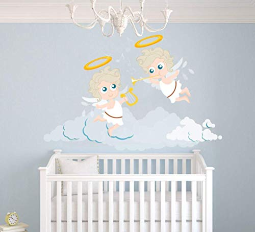 Zingende engelen vliegen in de wolken muursticker -baby kinderkamer Decor voor interieur interieur auto laptop (M127N) (breed 22
