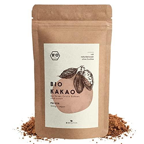 BioNutra® Bio Cacao Poeder   Biologisch Mager Cacaopoeder   Slechts 11% Vet   Gemalen van Criollo-bonen   Zonder Suiker…