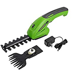 powerful Cordless Grassshire WORKPRO7.2V 2-in-1 + Shrub Cutter-Hand Hedge Trimmer,…