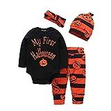 BOBORA Costume Halloween Bébé Mon 1er Halloween Manches Longues Barboteuse + Pantalons + Chapeaux + Bandeau 0-24Mois