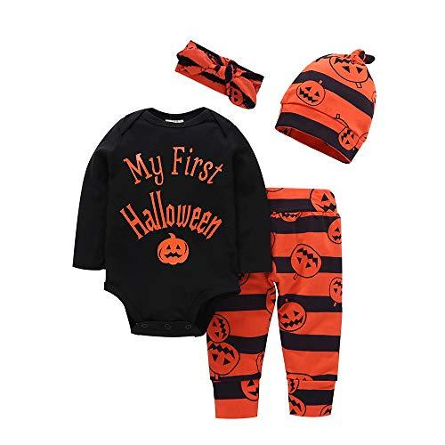 BOBORA Infante Bambino Halloween Zucca Costumi Mio Primo Halloween 3 Pezzi Abito Tuta per Bambini
