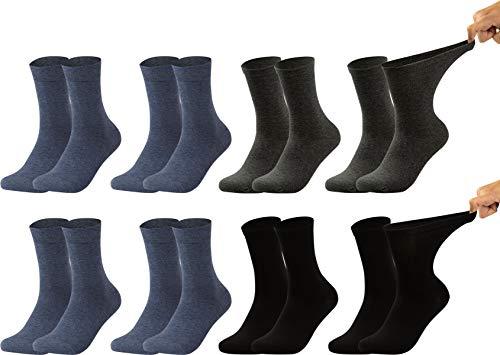 Vitasox 31034-35 Herren Gesundheitssocken extra weiter Bund ohne Gummi, Venenfreundliche Socken mit breitem Schaft verhindern Einschneiden & Drücken, 8 Paar Schwarz Anthrazit&Jeans 47/50