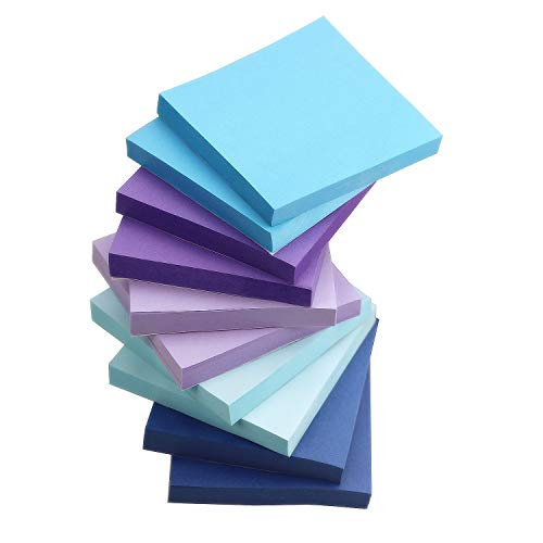 Early Buy 5 Water Color Sticky Notes Self-Stick Notes 3 in x 3 in, 100 Sheets/Pad, 10 Pads/Pack in Box (Navy)