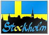 Kühlschrankmagnet Stockholm Architecture vor Schweden Flagge