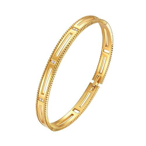E Jewelry 18K Gold Plattiert Armband für Frauen, 3A Zirkonia Armkette Armreif Armbänder Damen, Hohl Gold Armreif mit Sterne Design (Premium-Serie 1)