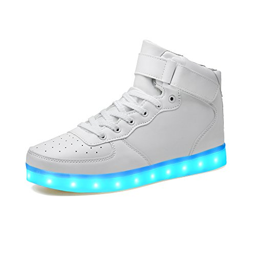 LeKuni Unisex LED Schuhe Leuchtschuhe 2019 Verbesserung 7 Farbe Blinkende Leuchtende Light up High Top Sneakers, Weiß, 33 EU (Herstellergröße: 34)