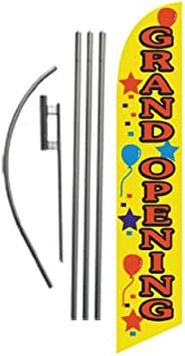 Grand Opening Advertising Feather Banner Swooper Flag Sign with Flag Pole Kit and Ground Stake, Yellow