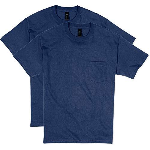 Hanes Men's Beefy Short Sleeve Pocket Tee Value Pack (2-Pack), Navy, Medium