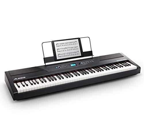 Alesis Recital Pro - Piano Digital con 88 Teclas de Acción Martillo, 12 Voces, Altavoces 20 W, Salida de Auriculares y Aplicaciones de Aprendizaje