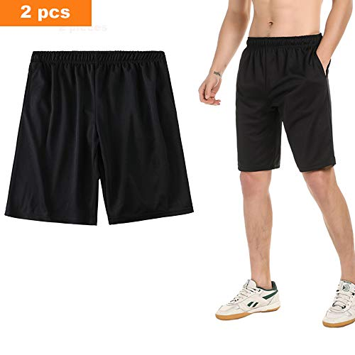 SAYFINE 2 Packs Men's Atheletic Shorts, Black Mens Workout Sport Active Loose-Fit Shorts (XL, Black/Black)