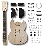 Leo Jaymz DIY Electric Guitar Kits with Mahogany Body and Maple Neck - Rosewood Fingerboard and All Components Included (SG)