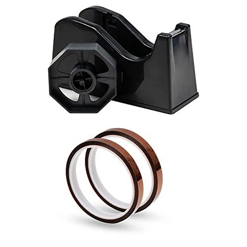 IHOMECOOKER 2Rolls 10mm x33m(108ft)Heat Tape Desktop and Tape Dispenser Black (Fits 1