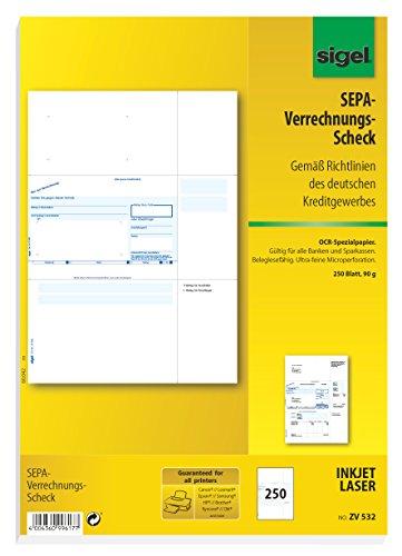 SIGEL ZV532 SEPA-Verrechnungs-Schecks, A4, 250 Blatt