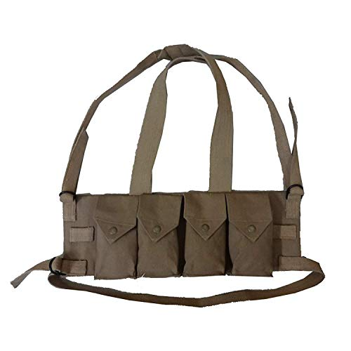 Stellis Inc Rhodesian Bush War 20rd .308/7.62x51mm Magazine Tactical Canvas 4 Mag Pouch Chest Rig (Coyote Brown)