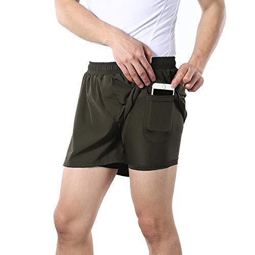 Sueltos Pantalones Ciclismo Hombres,Ropa Interior De Bicicleta MTB Transpirable,Con Bolsillos Secado Rápido Pantalones Cortos Cycling Shorts,para Correr Deportes Al Ai(Size:L,Color:Ejercito verde)